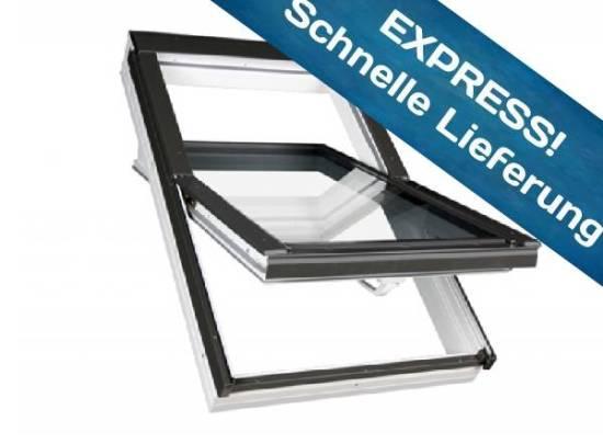 FAKRO Kunststoff-Schwingfenster 3-Fach Verglasung PTP-V U4 mit Eindeckrahmen