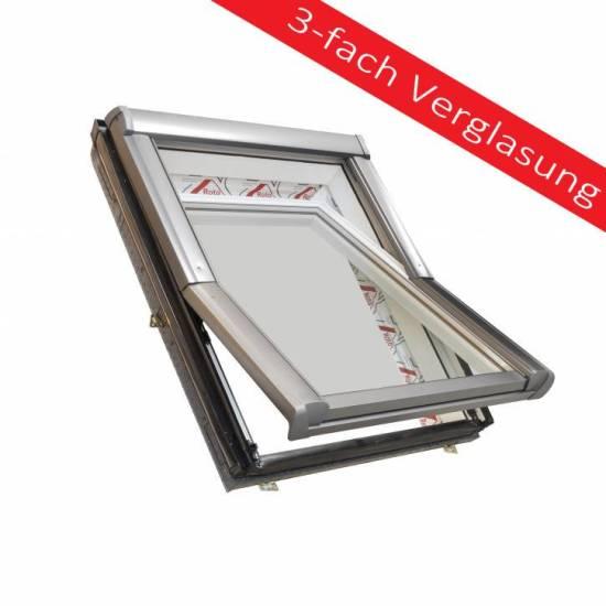 Maßstab - Dachdecker Favorit 3fach Verglasung Roto Dachfenster aus Kunststoff und Wärmedämmung