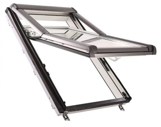 """Sparpaket """"Sunblock+"""" Roto Designo R75 K Hoch-Schwingfenster aus Kunststoff mit Eindeckrahmen inkl. Verdunkelungsrollo"""