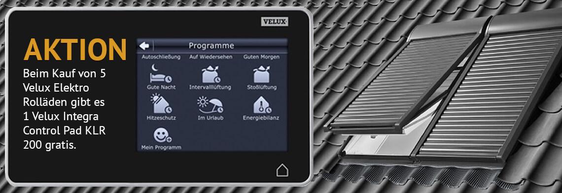 Aktion: Beim Kauf von 5 Velux Elektro Rolläden gibt es 1 Velux Integra Control Pad KLR 200 gratis.