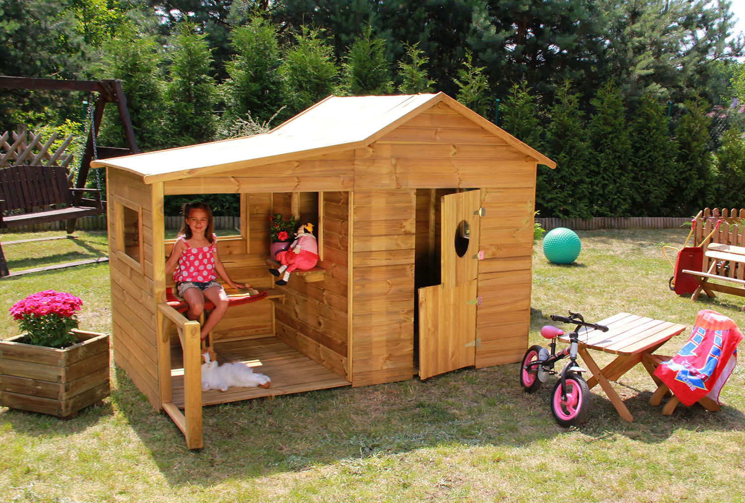 baumotte spielhaus holz kinderspielhaus heidi. Black Bedroom Furniture Sets. Home Design Ideas