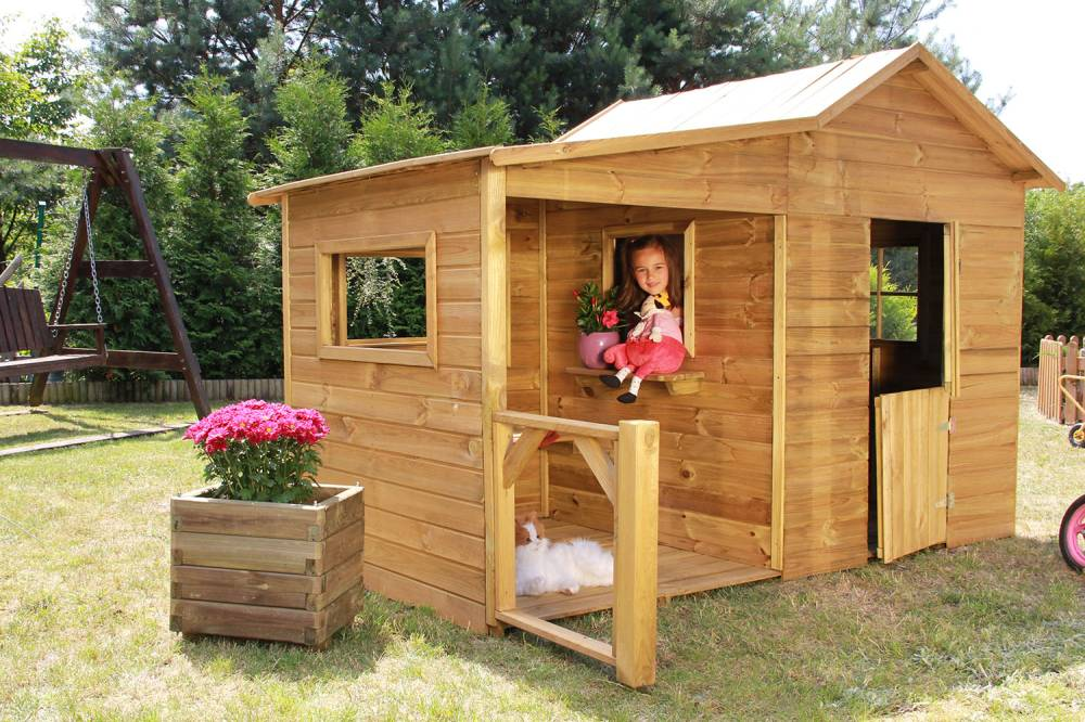 baumotte spielhaus holz kinderspielhaus heidi premium. Black Bedroom Furniture Sets. Home Design Ideas