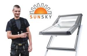 """Modernes Kunststoff-Dachfenster """"SunSky"""" mit Eindeckrahmen"""